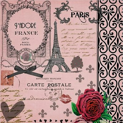 Eiffel Tower Paris Pink Postcard Image  Coasters Set Of 4 Fabric Top / Rubber