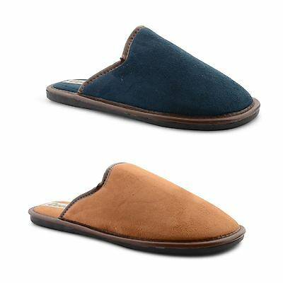 New Mens Coolers Quality Faux Suede Slip On Comfort Mule Slipper Shoes Size 7-12