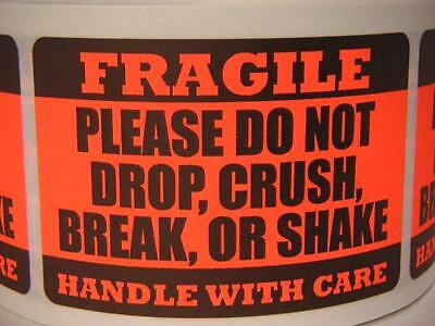 FRAGILE DO NOT DROP CRUSH BREAK OR SHAKE red fluor 2x3 sticker label 250/rl