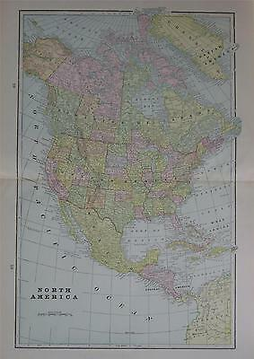 1898 North America Large 2-page Color Atlas Map** w/Towns, Railroads, Forts  etc