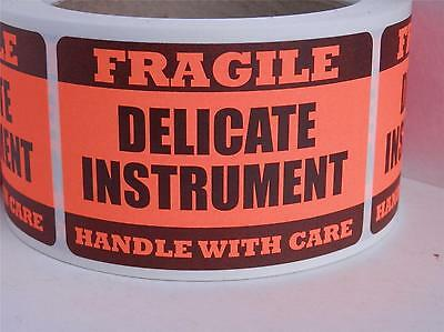 DELICATE INSTRUMENT FRAGILE HANDLE WITH CARE 2x3 Warning Sticker Label red fluor