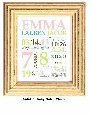 Personalized BABY ART Custom Statistic Stats Shower Gift Picture Announncement