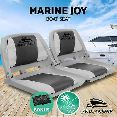 2 X Premium Boat Seat  Folding & Swivel Grey Charcoal All Weather