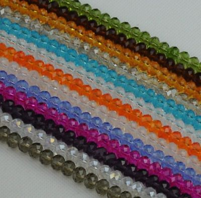 New Faceted Rondelle Jewelry Making Loose Crystal Glass Beads 6mm 8mm Pick Color