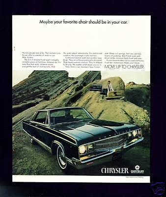 CHRYSLER Motoring Motor Car Vehicle Advert 1968