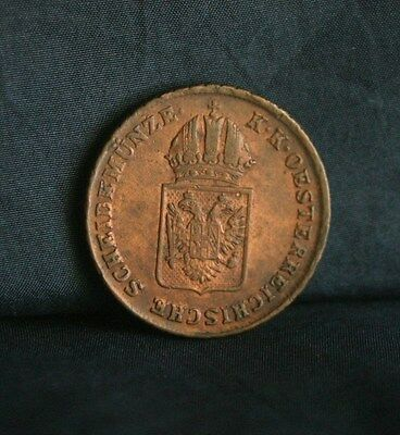 Austria 1 Kreuzer 1816 A Copper World Coin KM2113 Imperial Double Eagle Crown