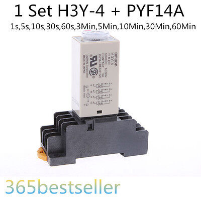 H3Y-4 DPDT Power on Time Delay Relay with base AC 110V AC 220V DC 12V DC 24V