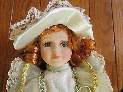 "12"" Collectible Irish Red Head Porcelain Doll with Stand"