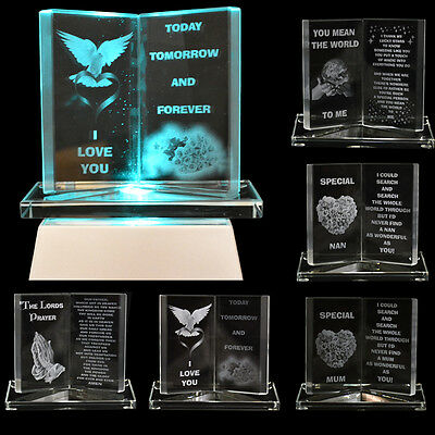 New Glass Crystal Ornaments Book Gift Set Poem Poetic Writing Message Mum Dad