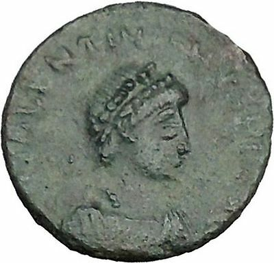 Valentinian II 388AD Ancient Roman Coin Victory Nike Chi-Rho Christ monog i35652