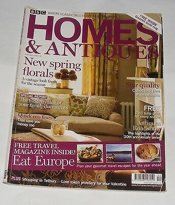 Homes & Antiques Magazine February 2008 - New Spring Florals/eat Europe