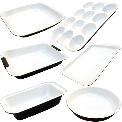 Ceramic Non-Stick Bakeware Coated Cooking Frypan Cake Muffin Loaf Pan Roaster