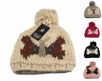 Luxury Ladies Butterfly Bobble Hat, Designer Beanie Pom Pom Hat, Winter Ski Gift