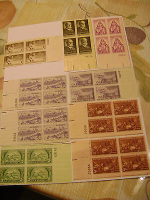 Vintage Unused United States Lot of 9 Sets of 4 Stamps, 36 Stamps!