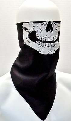 12 pc LOT BLACK SKULL FACE MOTORCYCLE BANDANAS SKI MASKS NECK SCARVES WHOLESALE