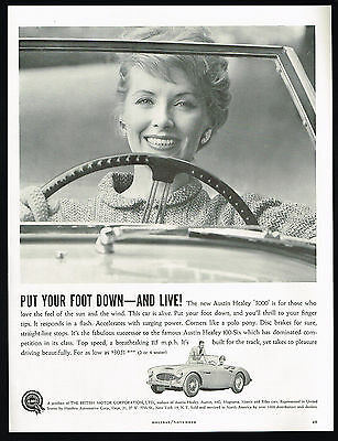 1960 Austin Healey 3000 Sports Car Is Alive Vintage Print Ad