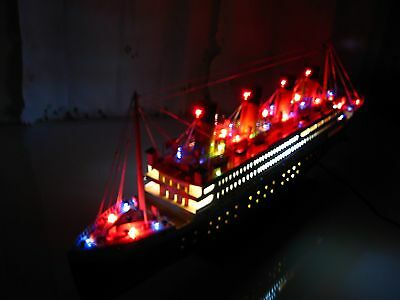 "Titanic wooden model cruise ship w/ flashing light 32"" fully assembly"
