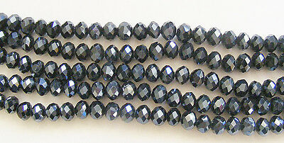 50 Crystal Rondelle/Abacus Glass Beads  Black - 4.5mm