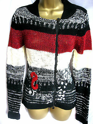 Red Warm Cardigan Up Soft M Lina Jers US Black 8 White Desigual Zip Chunky BRqXwSf