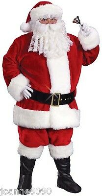 Professional Deluxe Father Christmas Santa Claus Suit Fancy Dress Outfit Costume