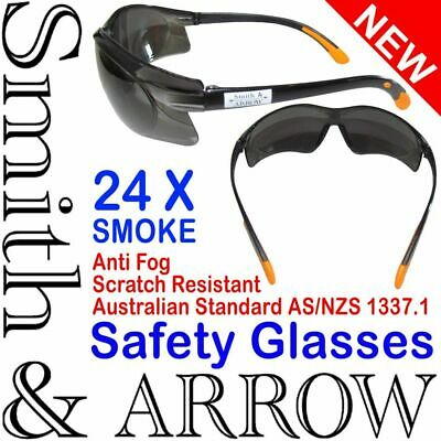 6x SMOKED SAFETY GLASSES LENS EYE PROTECTION PROTECTIVE EYEWEAR ANTI FOG SCRATCH