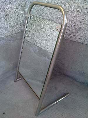 miroir de table moderniste tube chrome / nickelé art deco ( sognot ? ) mirror