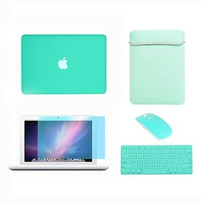 Rubberized See Thru Hard Case, KB Cover, LCD, Bag, Mouse for Macbook White A1342