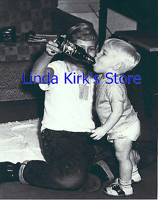 Baby Drinking From Beer Bottle Photograph 1950s 8 x 10 Black & White