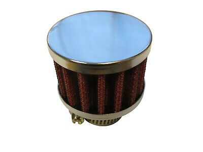 Small Breather Filter 15mm Neck Size (Oil Crankcase Air) 45x34x15mm RED/CHROME