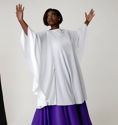 NWT Liturgical Praisewear Top White Child Adult sizes Polyester knit