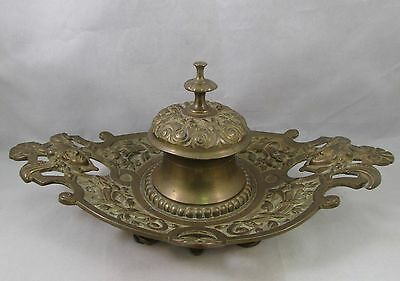 Antique French bronze or brass figural inkwell 1890 Art Nouveau