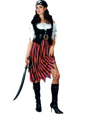 Adult Ladies Caribbean Pirate Woman Wench Fancy Dress Costume (UK Sizes 6-28) BN