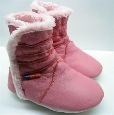 soft sole leather baby girl shoes winter booties pink 24-36 months