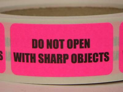DO NOT OPEN WITH SHARP OBJECTS 1x2 Warning Sticker Label fluor pink 500/rl
