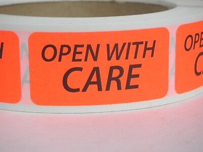 OPEN WITH CARE 1x2 Warning Stickers Labels red fluorescent 500/rl
