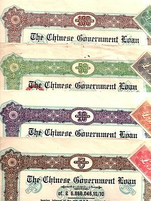 BIG RARE 1925 10-50-100£ CHINA BONDS (3) tied to GERMAN JEWISH TRADER! FOR ARMS!