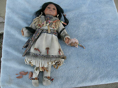 Vintage Native American Indian with Broken Leg Porcelain Doll Cathay Collection