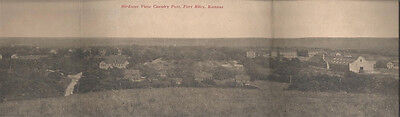 Old - 3 Section Panoramic Postcard - Birdseye View - Calvary Post - FT. Riley KS