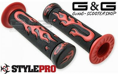 Handlebars Grips Flame Look Red Ø = 22/24mm Scooter Quad ATV