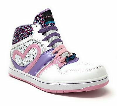 Pineapple Dubz Girl's White & Pink Retro Hi-Top Trainers High Sneakers Sequin