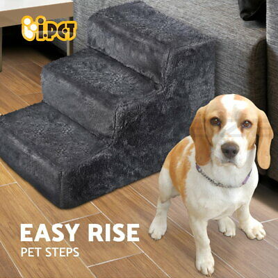 iPET 3 Steps Pet Soft Plush Steps Ladder Dog Cat Washable Cover Stairs Ramp