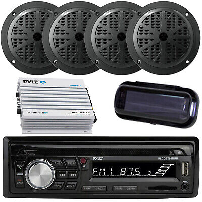 """New Pyle Marine SD USB Stereo +Wireless Bluetooth 800W Amp Cover 4 6.5"""" Speakers"""