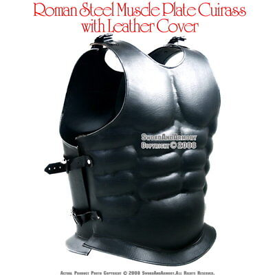 Spartan Roman Steel Muscle Breast Plate Cuirass Armor with Leather Wrap LARP SCA