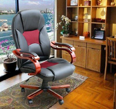 Luxury Leather Office Computer Chair Adjustable Swivel Seat High Back Black Home