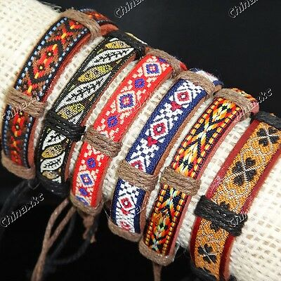 6pcs Fabric Leather Vintage Embroidery Bracelets Mens Womens Wholesale Jewelry