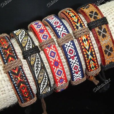 Wholesale Jewelry 12pcs Fabric Leather Embroidery Vintage Mens Womens Bracelets