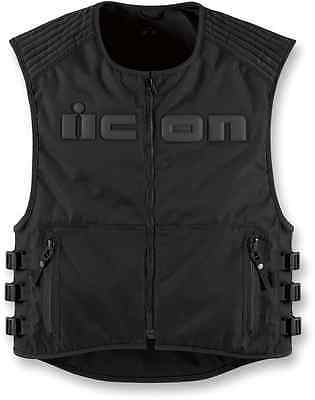 Mens Icon Brigand black stealth motorcycle biker riding vest