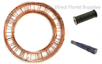 """Wreath Ring Kit -10 rings, 1x binding wire & 250g 8"""" stubwire 240 wires approx"""