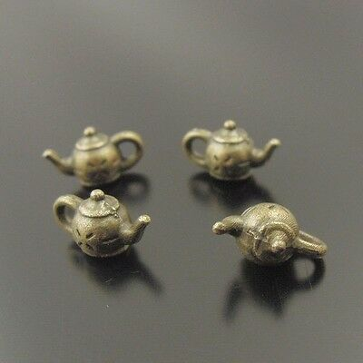 140X Antiqued Bronze Tone Curio Tea Pot Pendant Findings Charms 10*6*5mm