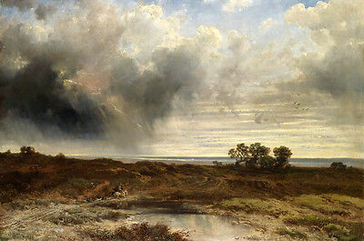 Oil painting nice landscape with storm in field no framed on canvas